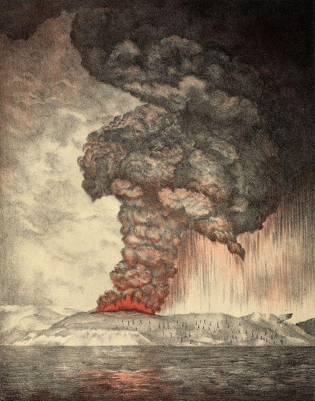 Ilustração da erupção de Krakatoa