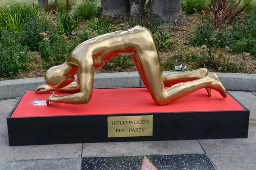 Trabalho de Plastic Jesus, numa critica à festa dos Óscares.